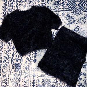 MISGUIDED BLACK FUZZY 2-PIECE SET